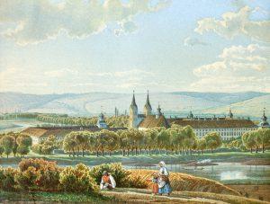 Altes Gemälde von Schloss und umliegender Landschaft
